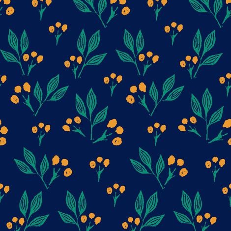 Yellow Block Print Berries on Blue fabric by jacquelinehurd on Spoonflower - custom fabric