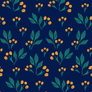 Yellow Block Print Berries on Blue