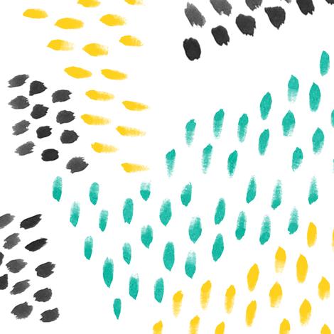 Turquoise Lemon Ink Abstract Watercolor Daubs fabric by nicoledobbins on Spoonflower - custom fabric