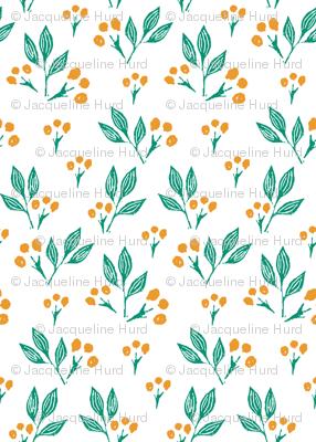 Yellow Block Print Berries on White