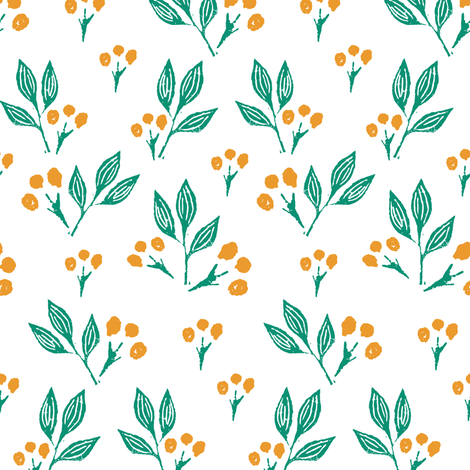 Yellow Block Print Berries fabric by jacquelinehurd on Spoonflower - custom fabric