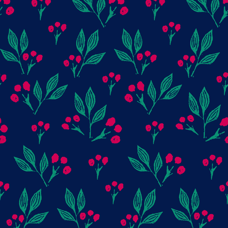 Block Print Berries on Blue fabric by jacquelinehurd on Spoonflower - custom fabric