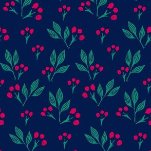 Block Print Berries on Blue