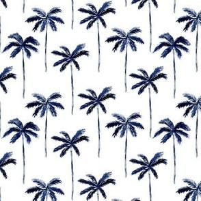 palm trees - watercolor dark blue