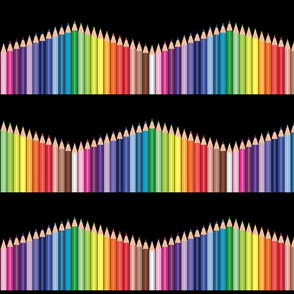 Colored_pencils_polka_zig_zag_border_Black_BG