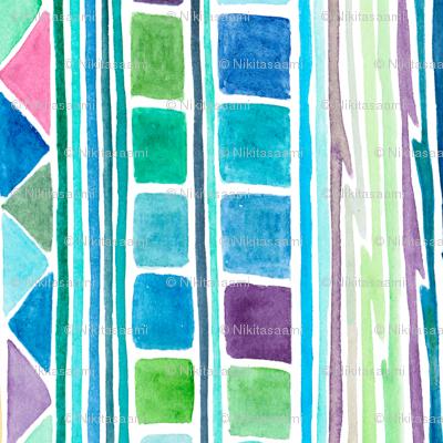 """joie de vivre"", pink, cyan,blue, green"