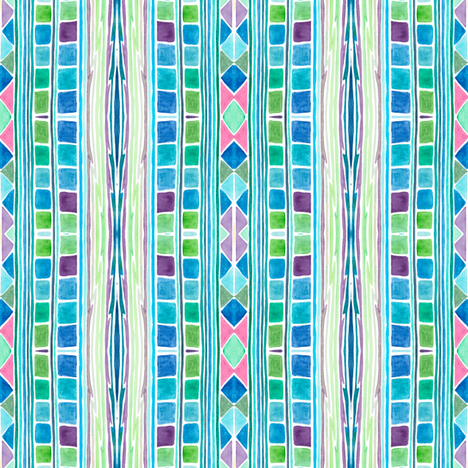 """joie de vivre"", pink, cyan,blue, green fabric by nikitasaami on Spoonflower - custom fabric"