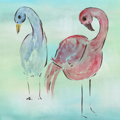 flamingos, blue, pink