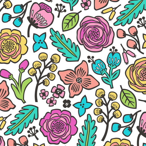 Flowers & Leaves Doodle Pink on White fabric by caja_design on Spoonflower - custom fabric