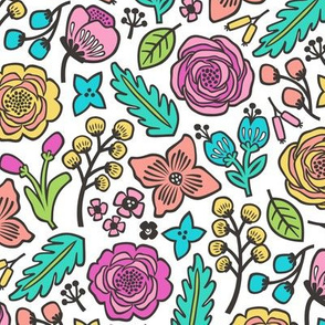 Flowers & Leaves Doodle Pink on White