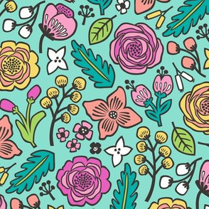 Flowers & Leaves Doodle Pink on Mint Green