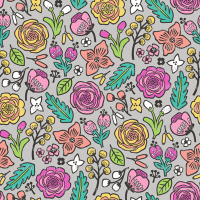 Flowers & Leaves Doodle Pink on Grey