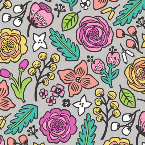 Flowers & Leaves Doodle Pink on Grey fabric by caja_design on Spoonflower - custom fabric