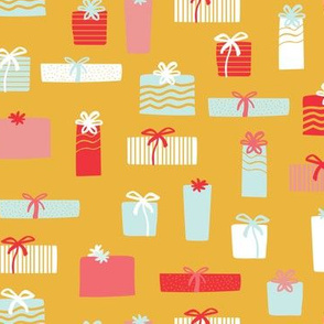 Christmas presents in yellow