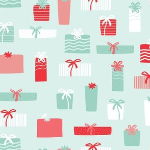 Christmas gifts in red and mint
