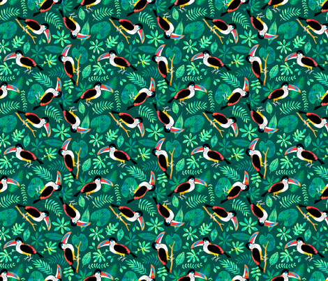 Curl Crested Toucan Jungle watercolor green fabric by heleen_vd_thillart on Spoonflower - custom fabric