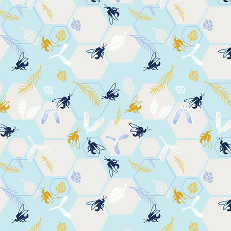 Honeybee harvest in teal fabric by lburleighdesigns on Spoonflower - custom fabric