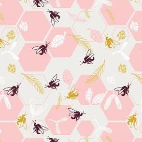 Honeybee harvest in pink
