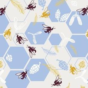 Honeybee harvest in blue