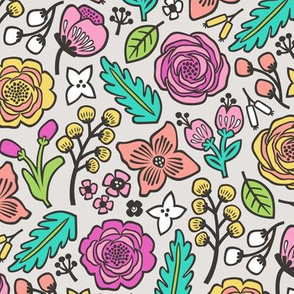 Flowers & Leaves Doodle Pink on Light Grey