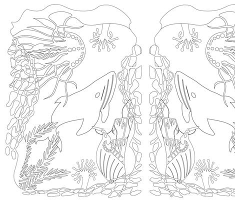 Coloring Underwater world fabric by julia_faranchuk on Spoonflower - custom fabric