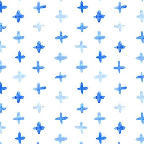 Watercolor blue crosses