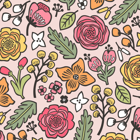 Flowers & Leaves Doodle on Light Pink fabric by caja_design on Spoonflower - custom fabric