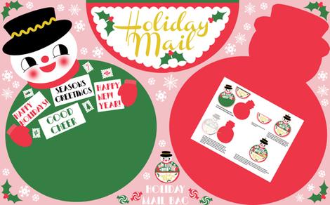 Snowman Holiday Mail Bag fabric by heidikenney on Spoonflower - custom fabric