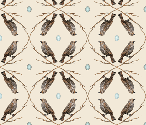 red winged backbird and eggs, off white fabric by turnbucklefarm on Spoonflower - custom fabric