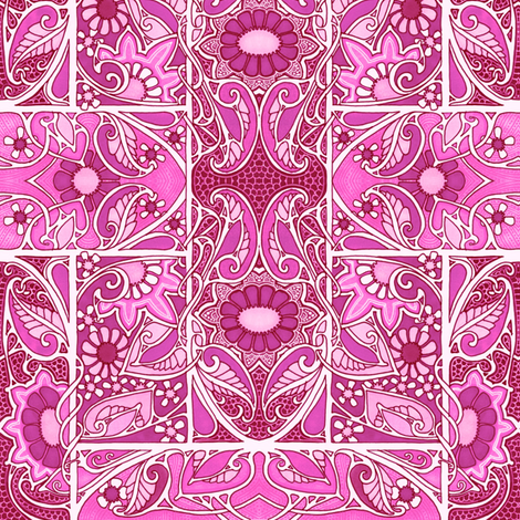 Brightly Pink Garden fabric by edsel2084 on Spoonflower - custom fabric