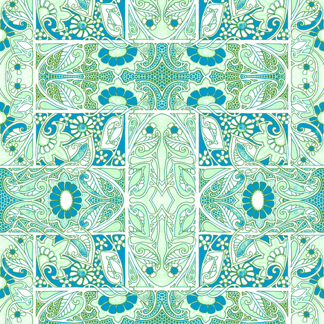 Blue Green Nouveau Basket Case fabric by edsel2084 on Spoonflower - custom fabric