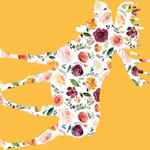 90 Degree Fat Quarter Moose Silhouette Floral Mustard