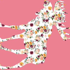 90 Degree Fat Quarter Moose Silhouette Floral Pink