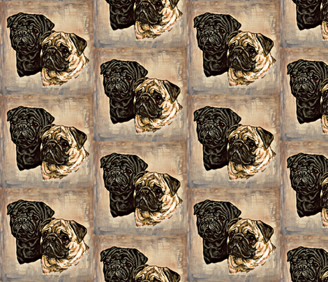Pug portraits on stone fabric by bow_lady_design on Spoonflower - custom fabric