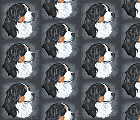 Bernese on stone fabric by bow_lady_design on Spoonflower - custom fabric