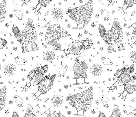 Whimsy Chicken  Pattern fabric by kerrie_hubbard_designs on Spoonflower - custom fabric