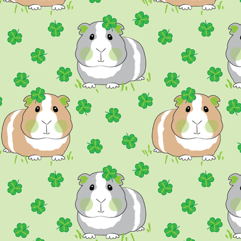 guinea-pigs-with-shamrocks fabric by lilcubby on Spoonflower - custom fabric