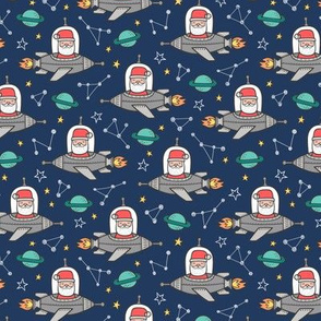 Christmas Santa Claus in Space Rockets, Planets & Constellations on Navy Blue Smaller