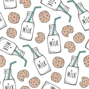 Milk and Cookies on White