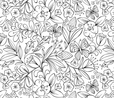 Enchanted Garden Coloring Book Floral - Black and White fabric ...
