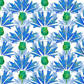 Moroccan Blue & Dusty Cornflowers N1 (white) by HelenPdesigns