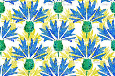 Moroccan Blue & Yellow Cornflowers N1 (white)