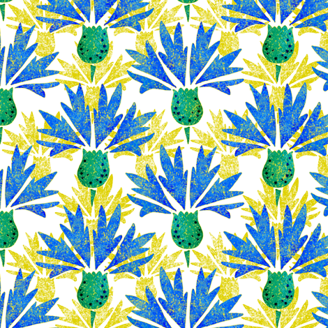 Moroccan Blue & Yellow Cornflowers N1 (white) fabric by helenpdesigns on Spoonflower - custom fabric