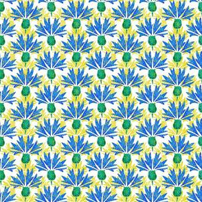 Moroccan Blue & Yellow Cornflowers N1 (white)