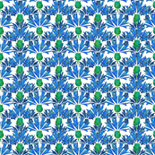 Moroccan Blue & Navy Cornflowers N1 (white) by HelenPdesigns