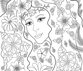 FairyGarden_DCostanza_coloringbook_challenge fabric by diane_costanza_studio on Spoonflower - custom fabric