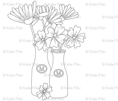 Flowers in milk jar