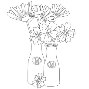 Flowers in milk jar