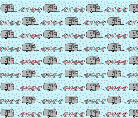 Airstream_Santa_Flamingo fabric by cartoonist on Spoonflower - custom fabric