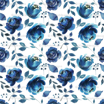 Indigo Florals Watercolor
